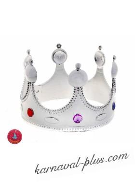 Корона для короля серебристая, пластик