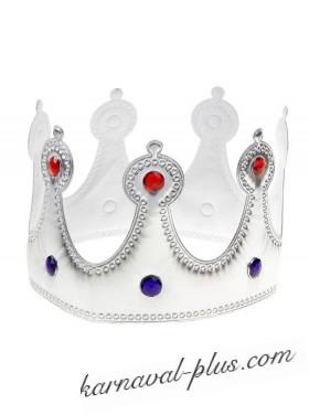Корона Королева серебряная со стразами, текстиль