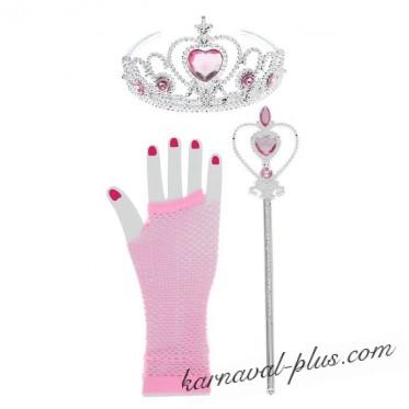 Набор Принцесса 3 предмета: корона, жезл, перчатки.