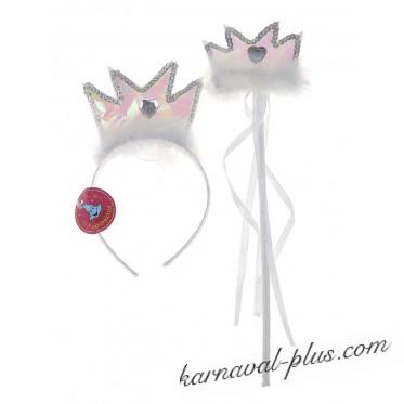 Набор карнавальный 2 предмета (ободок, волшебная палочка), цвета МИКС