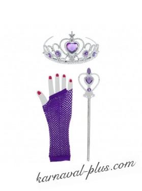 Набор Принцесса 3 предмета: корона, жезл, перчатки (фиол)