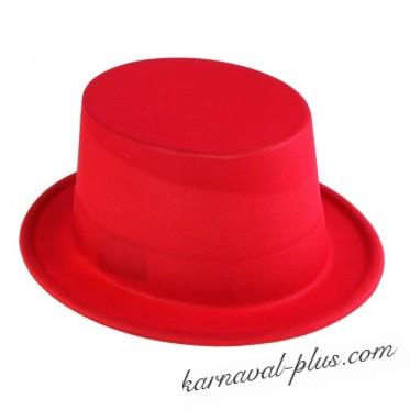 Шляпа Цилиндр красная, пластик