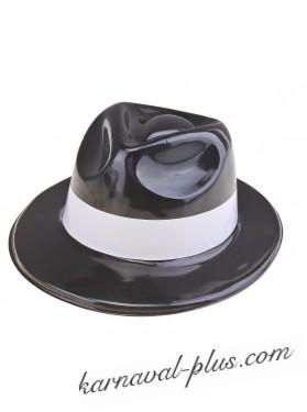 Шляпа Гангстера (Трилби) черная с белым кантом, пластиковая
