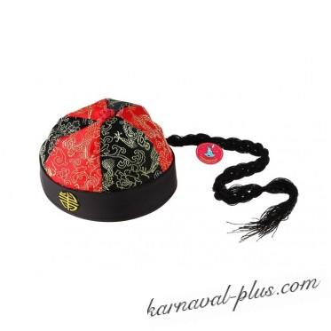 Шляпа китайская с косой цветная