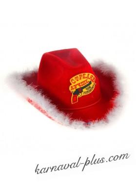 Шляпа ковбойская Стреляю лучше чем готовлю цвет красный