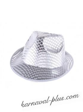 Шляпа с блеском серебро