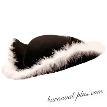 Шляпа треуголка черная с белой опушкой