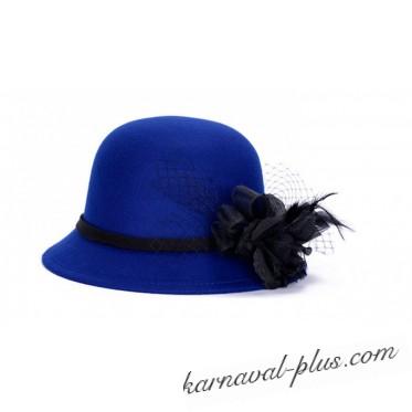 Шляпка женская синяя с розой, фетр