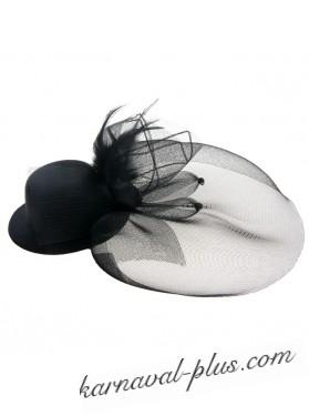Шляпка вуалетка с большой вуалью на зажиме, черный