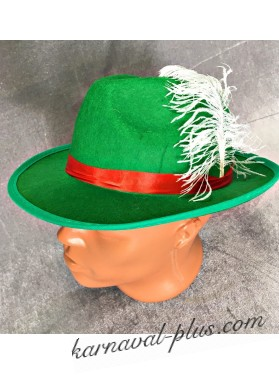 Карнавальная шляпа баварская зеленая с пером
