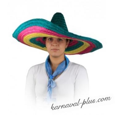 Шляпа Сомбреро многоцветная 64*64*20см