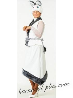 Карнавальный костюм Зайка белая женский